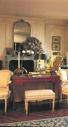 Desk in the living room of Jackie Kennedy Onassis' 1040 5th Ave. Apt.