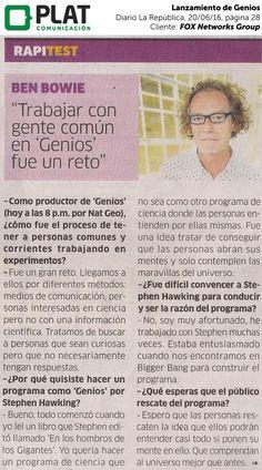 FOX Networks Group: Lanzamiento de Genios en el diario La República de Perú (20/06/16)