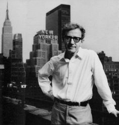 """I think this photo is so interesting because Woody Allen in my opinion is the quintessential New Yorker and """"The New Yorker"""" is the quintessential NY read. so to have the """"New Yorker"""" building in the background of a Woody Allen picture is quite fitting"""