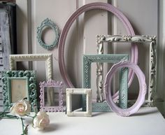 Pink Green and Cream Vintage Frame Set MADE by WillowsEndCottage, $140.00