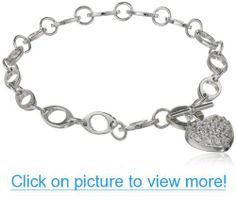 Sterling Silver Pave Simulated Diamond Heart Bracelet, 7.25 #Sterling #Silver #Pave #Simulated #Diamond #Heart #Bracelet