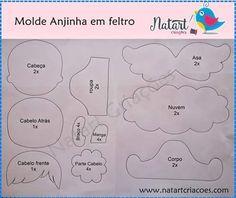 Feltro Fácil: Anjinha em Feltro; angel felt; angelito fieltro 2