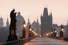 Sunrise over the Charles Bridge, Prague, Czech Republic Budapest, Pont Charles, Underground Bar, Train Tour, Prague Castle, Eastern Europe, Central Europe, Vienna, Spain