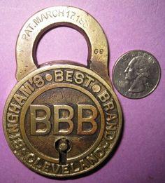 Large Rare BINGHAMS BEST BRAND Cast BRASS PADLOCK, Vintage, Old Antique LOCK Old Door Knobs, Vintage Door Knobs, Door Knobs And Knockers, Vintage Keys, Door Handles, Under Lock And Key, Lock Up, Key Lock, Unique Key