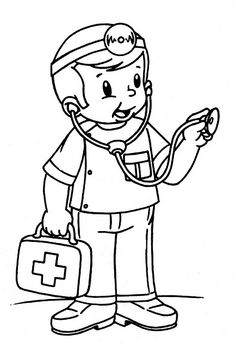 """""""Doctor"""" to color Preschool Coloring Pages, Coloring Pages For Boys, Colouring Pages, Free Coloring, Coloring Sheets, Coloring Books, Community Workers, Community Helpers, Book Activities"""
