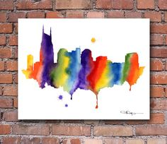 Nashville Skyline  Abstract Watercolor Art Print  by 1GalleryAbove, $12.50