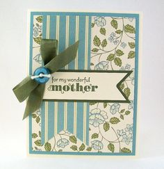 Hand Stamped Mothers Day Card  For my Wonderful by AcarrdianCards