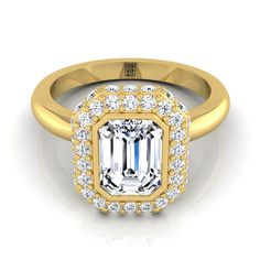 Emerald-cut Bezel And Pave Halo Engagement Ring With Flat Shank In 14k Yellow Gold