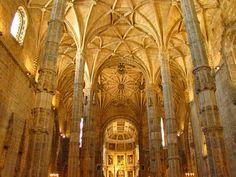 Interior of Mosteiro dos Jerónimos - Jerónimos Monastery. João de Castilho. palm columns. 1517 -