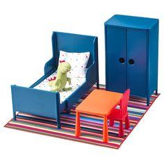 DUKTIG Doll bed with bedlinen set, pine, multicolor. Retro Furniture, Ikea Furniture, Doll Furniture, Dollhouse Furniture, Bedroom Furniture, Furniture Buyers, Furniture Websites, Luxury Furniture, Furniture Design