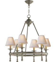Visual Comfort SL5814AN-NP E. F. Chapman Classic Mini Ring Chandelier in Antique Nickel with Natural Paper Shades
