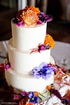 Wedding Cake Designs, Wedding Cakes Photos by MoscaStudio, LLC (formerly Mosca Photo) - Image 48 of 52 - WeddingWire Autumn Wedding Cakes, Ivory Wedding Cake, Wedding Cake Photos, Elegant Wedding Cakes, Wedding Cake Designs, Elegant Cakes, Peacock Wedding, Purple Wedding, Dream Wedding