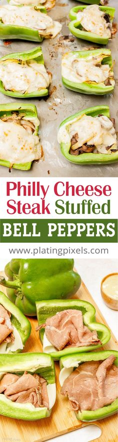 Philly Cheese Steak Stuffed Bell Peppers recipe by Plating Pixels. Gluten-free Philly cheese steak with fresh green bell pepper, roast beef, provolone cheese, onions and Peperoncini - www.platingpixels...
