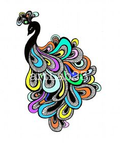 I drew this flamboyant peacock doodle with an ink pen on sketch paper, then added color digitally. This is a print of my original hand drawn doodle,