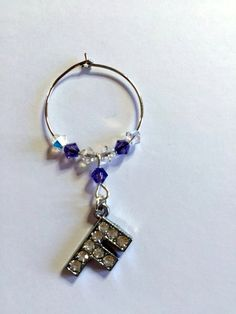 Letter 'F' Wine Glass Charm - with Swarovski Crystals - birthstone gift idea by Makewithlovecrafts on Etsy