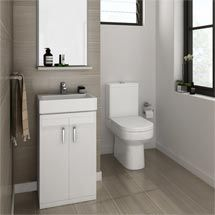Nova Cloakroom Suite - Floor Standing Basin Unit & Close Coupled Toilet