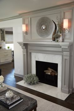 40 Awesome Farmhouse Fireplace Decor Ideas And Remodel FarmhouseFireplaceDecorIdeasAndRemodel Grey Fireplace, Fireplace Redo, Family Room Fireplace, Farmhouse Fireplace, Fireplace Remodel, Fireplace Surrounds, Fireplace Design, Simple Fireplace, Painted Fireplace Mantels