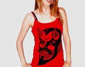 RED DEVIL Tank top in Black Ink Available in Sizes XS, Small, Medium, Large