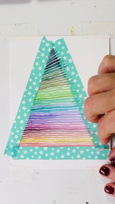 Watercolor Stripes with Washi Tape Get free templates and tips from Josie! Watercolor Stripes with Washi Tape Get free templates and tips from Josie! Watercolor Christmas Cards, Diy Christmas Cards, Watercolor Cards, Christmas Art, Watercolour For Kids, Christmas Cards Drawing, Watercolor Pencil Art, Christmas Paintings, Crochet Christmas