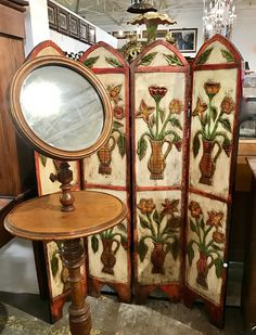 "Carved Wood and Painted Primitive Folding Screen  46"" Wide x 59"" High   $495  Dealer #7373  LOST . .again Antiques & Decor 148 Riveredge Dallas, TX 75207"