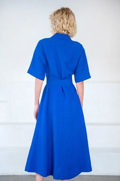 Large Buttons, Collar Dress, Cobalt, Collars, High Neck Dress, Short Sleeve Dresses, Sewing, Model, Sleeves