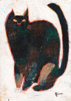 Cats in Art and Illustration: Machiko Kaede Art And Illustration, Cat Illustrations, Cat Drawing, Painting & Drawing, Academic Drawing, Gatos Cats, Cat Art, Art Inspo, Folk Art