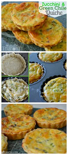 This Zucchini and Green Chile Quiche recipe is one of our favorites! Zucchinis and green chiles combine for amazing flavor in this delicious quiche recipe! Can make 1 lrg or mini's Think Food, Love Food, Breakfast Dishes, Breakfast Recipes, Vegetarian Recipes, Cooking Recipes, Vegetarian Quiche, Recipe For Mom, Mets