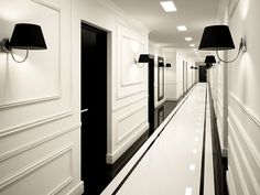 Hotel interiors, black and white hallway, black doors, white doors, black. Black And White Hallway, Black And White Interior, Black Doors, Black White, White Trim, White Doors, White Walls, Hotel Hallway, Hotel Corridor