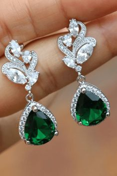 Details about  /Victorian Emerald Gemstone Pave Diamond Stud Earring 925 Sterling Silver
