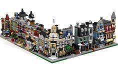 Amazing custom-made mini-modular fit in perfectly with their official LEGO… Casa Lego, Lego Minifigure Display, Micro Lego, Lego Modular, Lego Castle, Lego Worlds, Cool Lego Creations, Lego Design, Lego Architecture