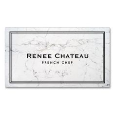 Elegant French Chef Catering Subtle White Marble Business Card Template