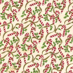 Mid-Century Christmas Paper - Candy Canes & Holly by ElectroSpark, via… Miniature Christmas, Noel Christmas, Christmas Paper, Retro Christmas, Christmas Images, Christmas Crafts, Vintage Christmas Wrapping Paper, Christmas Gift Wrapping, Christmas Scrapbook