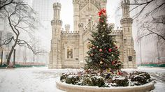 Water Tower, Winter (Chicago Pin of the Day, Loyola University Chicago, Chicago University, College Guide, Chicago Loop, Chicago Winter, Christmas Lanterns, My Kind Of Town, Nature Decor