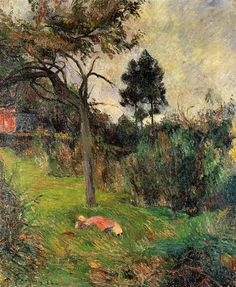 """ Young Woman Laying on a Grass "" 1884 By Paul Gauguin"