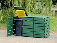 3er Mülltonnenbox Holz, Deckend Geölt Tannengrün, für 120 L + 240 L Mülltonnen