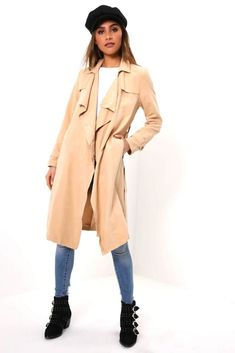 35be1a62166998 Taupe Faux Suede Trench Coat