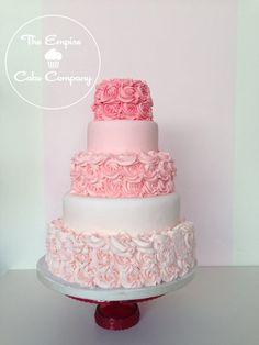 Pink ombre rose buttercream wedding cake