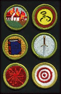 Achievement badges for the Cthulhu Scouts of America for Terrorism, Yellow Sign, Necronomicon, Ritual Mastery, Propaganda and Target Shooting  http://www.featherlessbiped.com/cthulhu/cthulhu/mainpage.htm