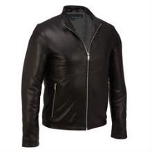 Wilsons Leather Contemporary Moto Jacket w/ Mock Neck Collar