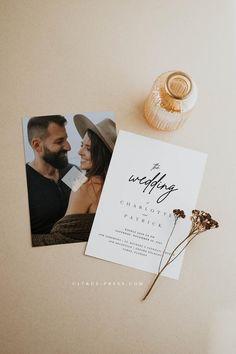 Minimalist Wedding Invitations, Photo Wedding Invitations, Save The Date Invitations, Printable Wedding Invitations, Wedding Stationary, Black And White Wedding Invitations, Dream Wedding, Wedding Day, Elopement Wedding