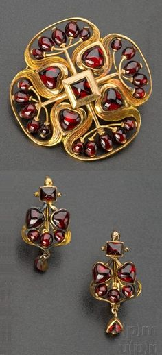 Art Nouveau gold and garnet brooch and a pair of earrings, by Němec Josef…