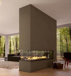 Attractive Modernes Wohnzimmer Mit Luxus Trennwand Kamin  Sehr Schick   42