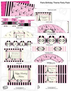 Pink Paris Birthday Party Package  PRINTABLE DIY by MetroEvents, $16.58