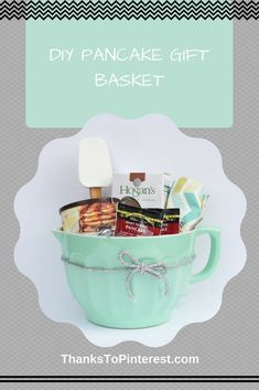 DIY Pancake Gift Basket - great for a housewarming present! - DIY Pancake Gift Basket – great for a housewarming present! Arts And Crafts For Adults, Crafts For Teens To Make, Crafts For Seniors, Diy Arts And Crafts, Baby Shower Gift Bags, Arts And Crafts Interiors, Art And Craft Videos, Housewarming Present, Diy Gifts For Friends