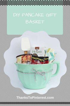 DIY Pancake Gift Basket - great for a housewarming present! - DIY Pancake Gift Basket – great for a housewarming present! Arts And Crafts For Adults, Crafts For Teens To Make, Crafts For Seniors, Arts And Crafts Interiors, Art And Craft Videos, Diy Gift Baskets, Diy Gifts For Friends, Mason Jar Gifts, Romantic Gifts