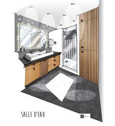 Croquis architecture intérieure-Dominique JEAN pour EDECO Rénovation- petite salle d'eau avec claustras bois, sol noir, et carrelage mural Terrazzo