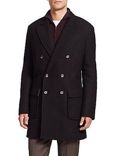 Saks Fifth Avenue Collection Double-Breasted Wool Coat - Black - Size