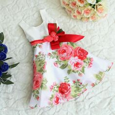 Wholesale-Can Fit 3T-6T, Kids Summer One-piece Tank Dress ,Girls Flower Party Dress With Bow, Girls Princess Dress Online with $26.28/Piece on Feiyancao's Store | DHgate.com