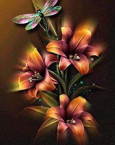 Flowers & Dragonfly DIY Paint By Diamond Kit – Original Paint By Diamond Rosas Gif, Art Fractal, Beau Gif, Dragonfly Art, Dragonfly Painting, Painting Flowers, Butterfly Wallpaper, 5d Diamond Painting, Beautiful Roses