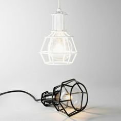 Work Lamp limited white from Design House Stockholm by Form Us With Love Small Pendant Lights, Pendant Light Fixtures, Pendant Lamp, Pendant Lighting, Design House Stockholm, Design Light, Loft Lighting, Lighting Ideas, Lighting Design